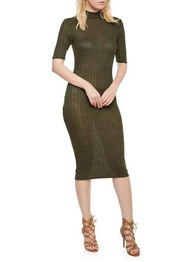 Marled Dress with Mock Neck,OLIVE,large