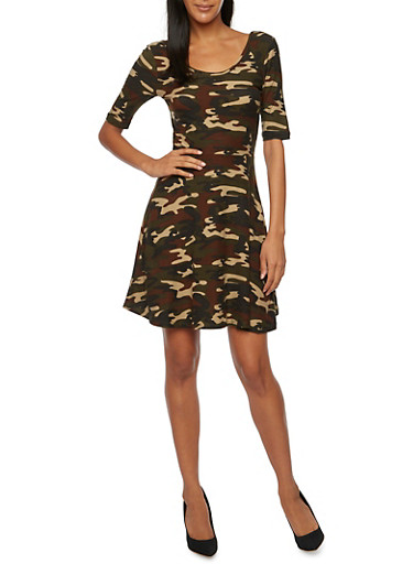 Skater Dress in Camo Print,OLIVE,large