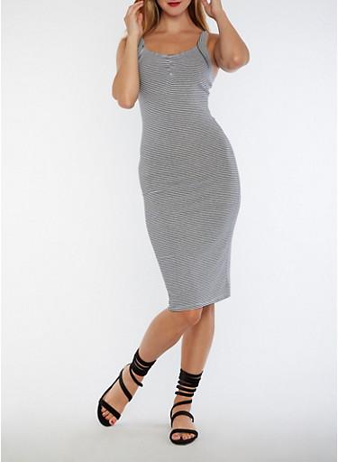 Pinstriped Midi Bodycon Dress,BLACK/WHITE,large