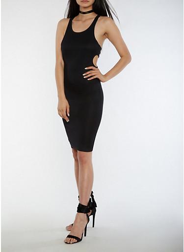 Sleeveless Open Side Midi Dress,BLACK,large