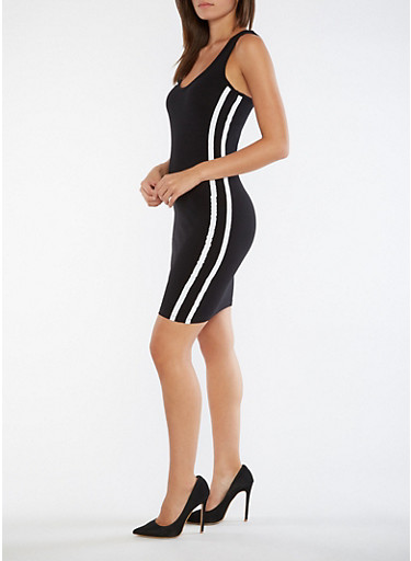 Varsity Striped Tank Dress,BLACK,large
