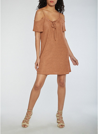 Two Tone Rib Knit Cold Shoulder Dress,MELON,large