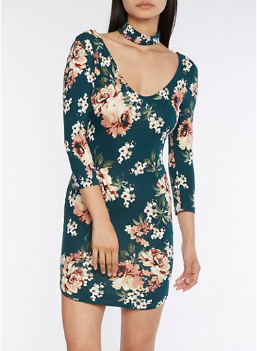 Floral Choker Bodycon Dress,HUNTER,large