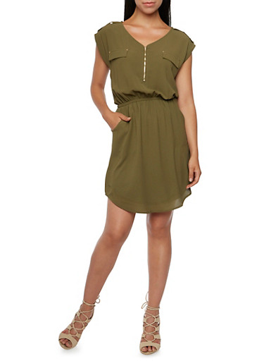 Shirt Dress with Zip Neck and Button Tabs,OLIVE,large