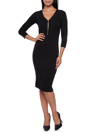 Zip Neck Midi Bodycon Dress with Three Quarter Sleeves,BLACK,large