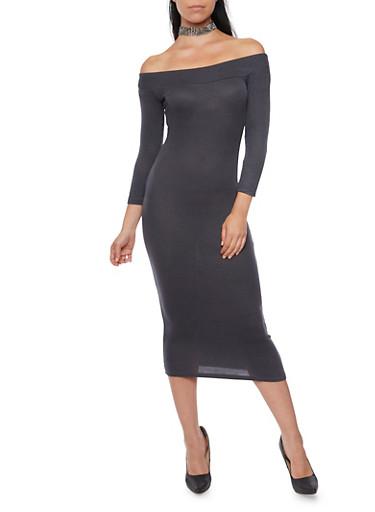Ribbed Off the Shoulder Midi Dress,CHARCOAL/BLACK,large