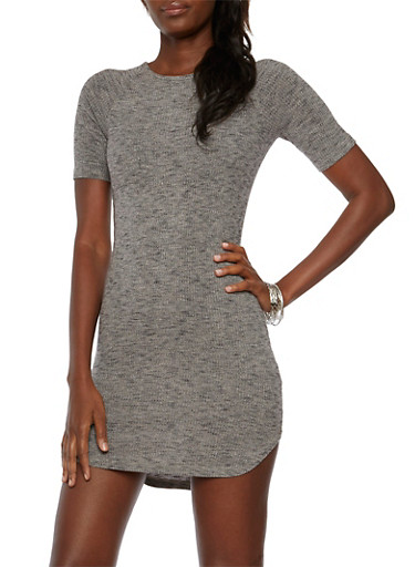 Knit Bodycon Dress with Back Keyhole Cutout,BLACK,large