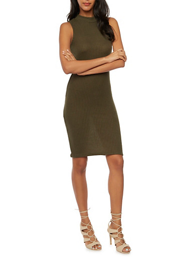 Sleeveless Bodycon Dress in Ribbed Knit,OLIVE,large