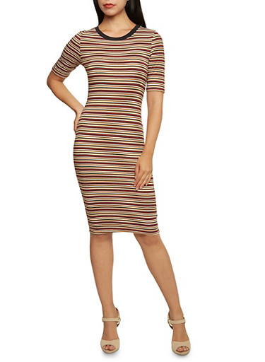 Striped Ringer Bodycon Dress with Short Sleeves,RUST,large
