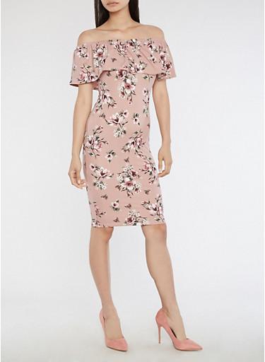 Off the Shoulder Floral Midi Dress,DUSTY PINK,large