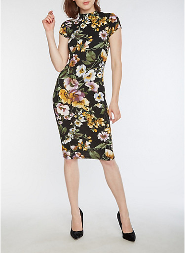 Floral Textured Knit Bodycon Dress,BLACK,large