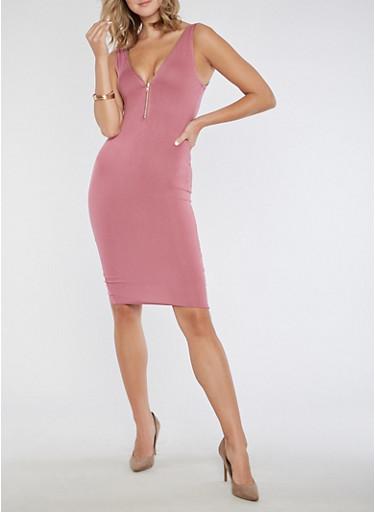 Half Zip V Neck Bodycon Dress,PLUM,large