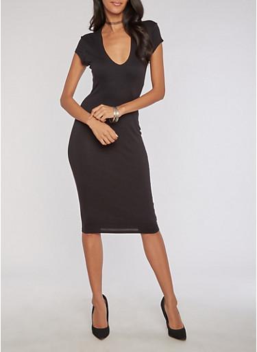 Mid Length Deep V Neck Bodycon Dress,BLACK,large