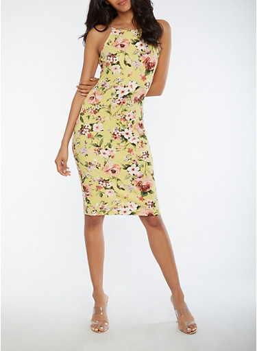 Floral Midi Bodycon Dress,CURRY,large