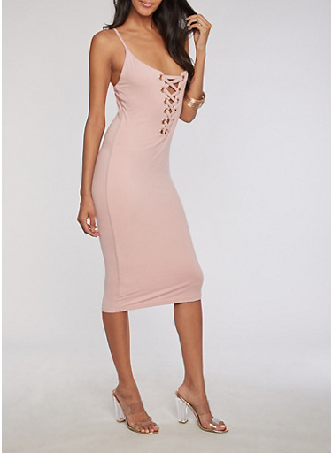 Mid Length Lace Up Bodycon Dress at Rainbow Shops in Jacksonville, FL | Tuggl