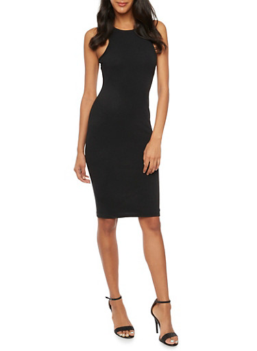 Sleeveless Dress in Bodycon Fit,BLACK,large