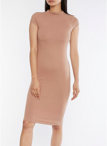 Mock Neck Bodycon Midi Dress,TAUPE,large