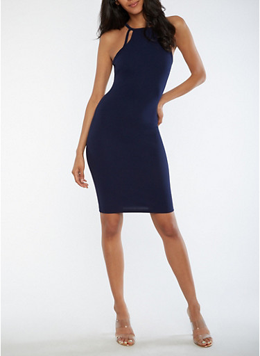 Textured Knit Racerback Bodycon Dress,NAVY,large