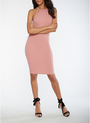 Textured Knit Racerback Bodycon Dress,ROSE,large