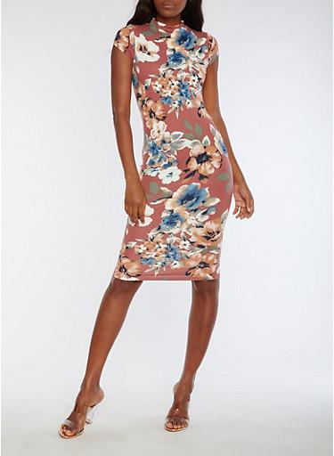 Short Sleeve Floral Print Midi Dress,D MAUVE,large