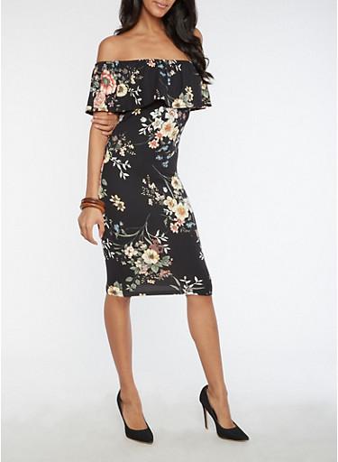 Mid Length Floral Off the Shoulder Dress,BLACK,large