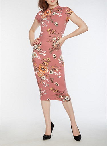 Soft Knit Floral Bodycon Dress,DK ROSE,large