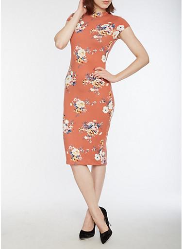 Soft Knit Floral Bodycon Dress,D MAUVE,large