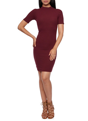 Bodycon Dress with Mock Neck and Short Sleeves,BURGUNDY,large