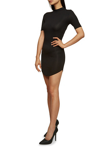 Mock Neck Mini Bodycon Dress with Short Sleeves,BLACK,large