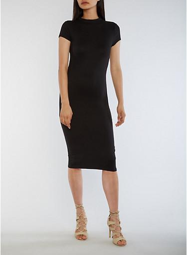 Funnel Neck Bodycon Dress,BLACK,large