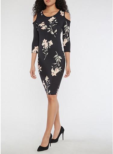 Floral Cold Shoulder Midi Bodycon Dress,BLACK/MAUVE,large