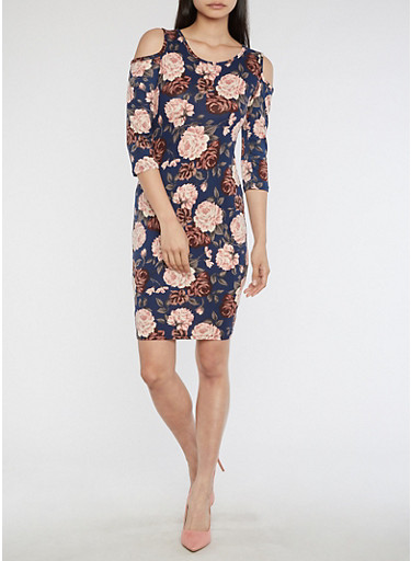 Cold Shoulder Floral Print Dress,NAVY/CORAL,large