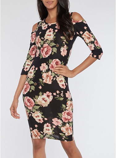 Cold Shoulder Floral Print Midi Dress,BLACK,large