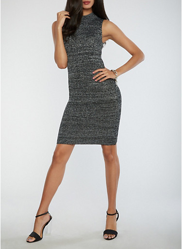 Ribbed Glitter Knit Bodycon Dress,BLACK,large