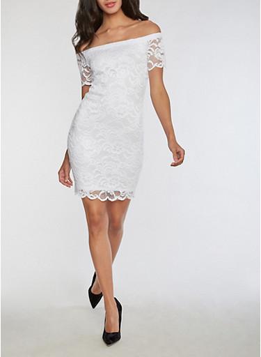 Short Sleeve Off the Shoulder Lace Dress,WHITE,large