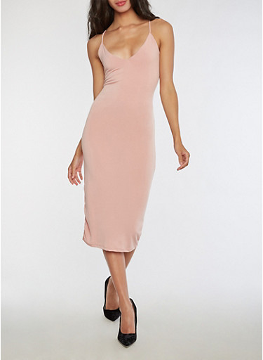 Solid Sleeveless Midi Dress,MAUVE,large