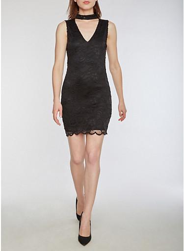 Sleeveless Lace Bodycon Dress,BLACK,large