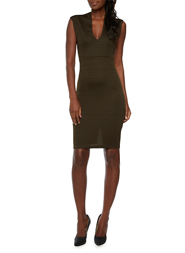 Bodycon Midi Dress,OLIVE,large