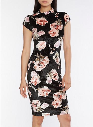 Floral Velvet Bodycon Dress,BLACK,large