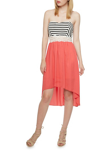 Strapless High-Low Dress with Stripes and Lace Cutout,BLACK/WHITE,large