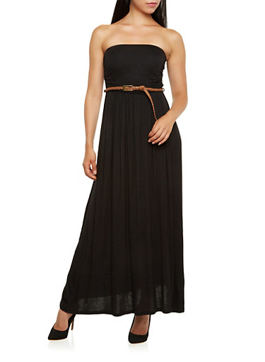 Strapless Maxi Dress with Woven Belt,BLACK,large