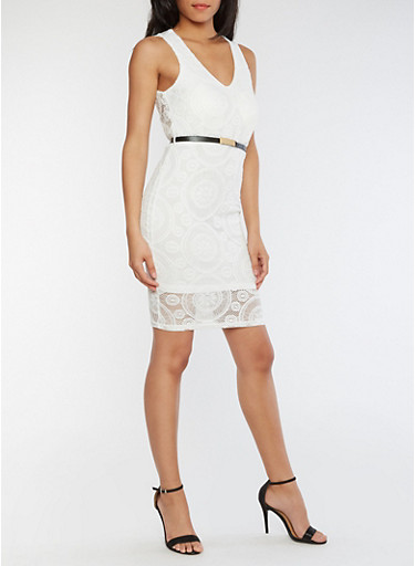 Sleeveless Lace Dress with Belt,WHITE,large
