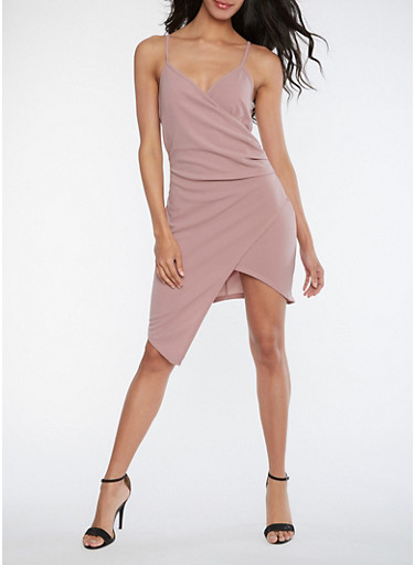 Faux Wrap Asymmetrical Dress,WITHERED ROSE,large