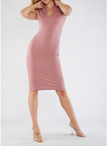 Plunge Neck Bodycon Dress,MESA ROSE,large