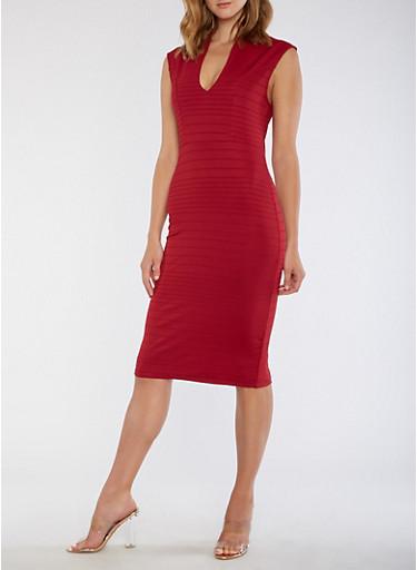 Plunge Neck Bodycon Dress,BURGUNDY,large