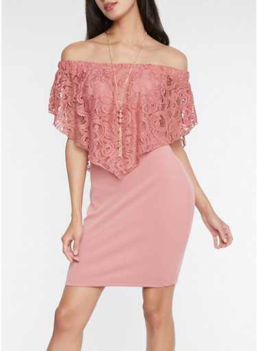 Lace Overlay Off the Shoulder Bodycon Dress,MAUVE,large