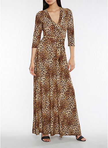 Leopard Faux Wrap Maxi Dress,CHEETAH,large