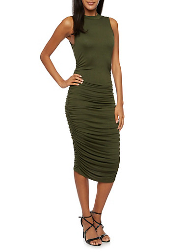 Sleeveless Mid Length Bodycon Dress with Ruching,OLIVE,large
