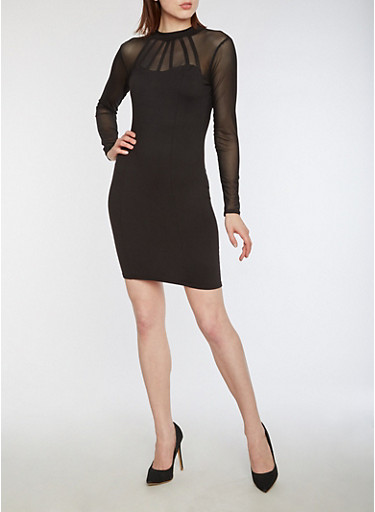 Long Sleeve Mesh Bodycon Dress,BLACK,large