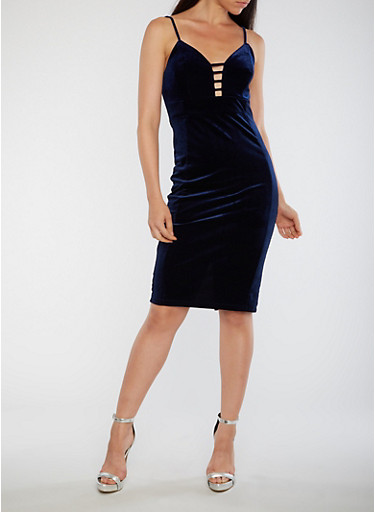 Velvet Plunge Neck Bodycon Dress,NAVY,large